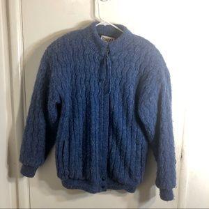 Vintage Tundra Men's Blue Wool Cardigan